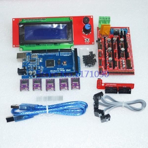 Drukarka 3D zestaw 1 sztuk Mega 2560 R3 + 1 sztuk RAMPS 1.4 kontroler + 5 sztuk DRV8825 Krokowy Napęd + 1 sztuk LCD 2004 controller