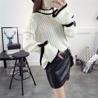 TWOTWINSTYLE 2018 Spring Knitted Sweater Pullover Women Lace Up Flared Long Sleeve White Jumpers Knitting Top