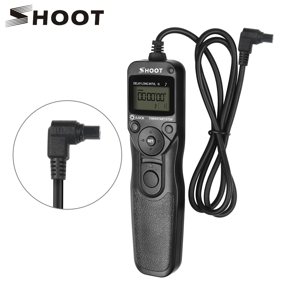 SHOOT RS-80N3 LCD Timer Shutter Release Remote Control for Canon EOS 5D Mark II 5D 6D 7D 10D 20D 30D 40D 50D 1D 1DS 5D Mark III rs 80n3 wired remote shutter release for canon 5d mark iii 5d mark ii more black 85cm cable