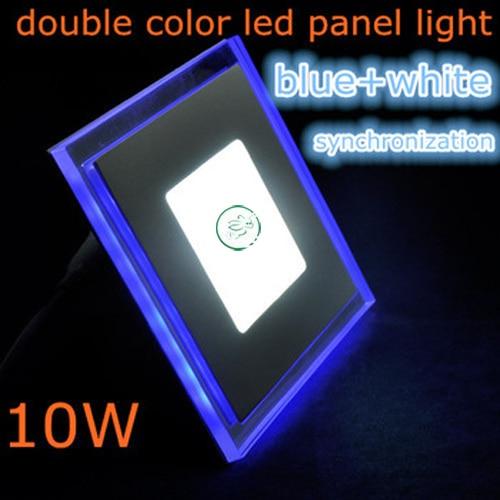 10W led panelový světlý čtverec Akrylátové dvoubarevné zapuštěné stropní svítidlo pro domácí svítidlo vedlo studené bílé s modrou barvou