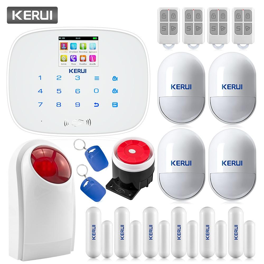 KERUI G19 Wireless Wired GSM SMS Home Security Burglar Alarm System English & Russian Voice Motion Detector Door Sensor Alarm