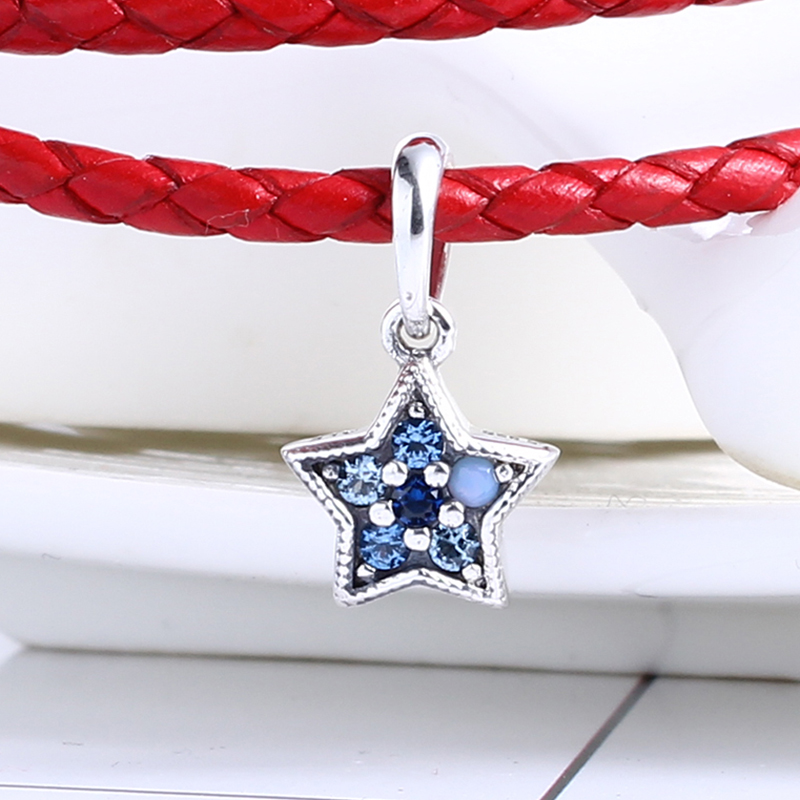Winter 100% 925 Sterling Silver Fit Original Pandora Bracelet Bright Star Pendant Charm Charm Beads for Jewelry Making