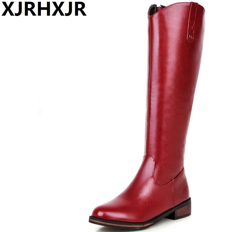 XJRHXJR Winter Warm Shoes Woman Flat Heel Knee High Martin Boots Fashion Zip Round Toe Riding Boots Ladies Cold Shoes Size 32-43 xjrhxjr size 33 43 shoes woman autumn winter warm shoes fashion wedges heel mid calf boots suede leather riding boots black gray