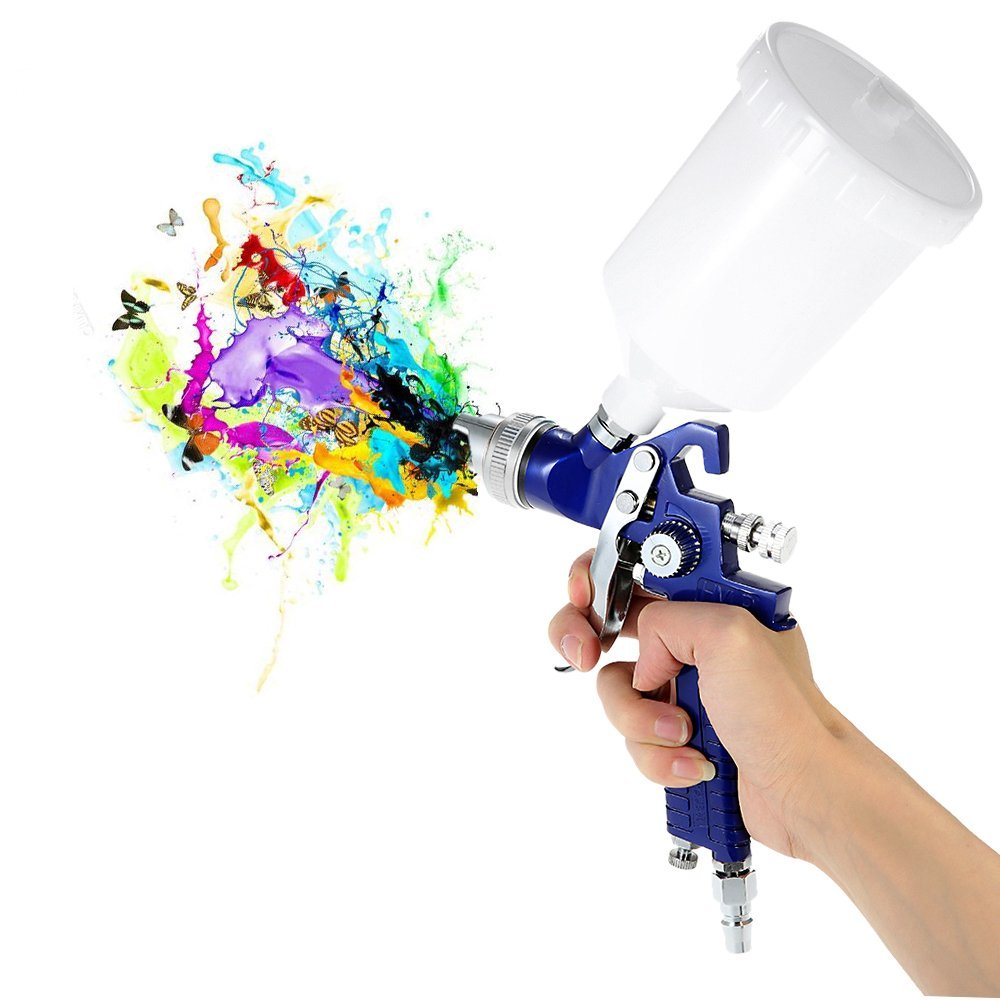 1.4/1.7mm Nozzle Professional Gravity Feed HVLP Paint Spray Gun Airbrush Car Furniture Finishing Coat Painting Spraying Tool