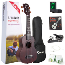 Kmise Ukulele Soprano Ukelele Mahogany 21 inch Hawaii Guitar Kits with Gifts Gig Bag Tuner String Strap Booklet for Beginner