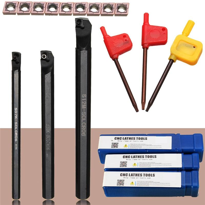 1pcs S07K-SCLCR06+1pcs S10K-SCLCR06+1pcs S12M-SCLCR06 Lathe Holder Turning Tool Boring Bar 7/10/12mm + 10pcs CCMT0602 Inserts1pcs S07K-SCLCR06+1pcs S10K-SCLCR06+1pcs S12M-SCLCR06 Lathe Holder Turning Tool Boring Bar 7/10/12mm + 10pcs CCMT0602 Inserts