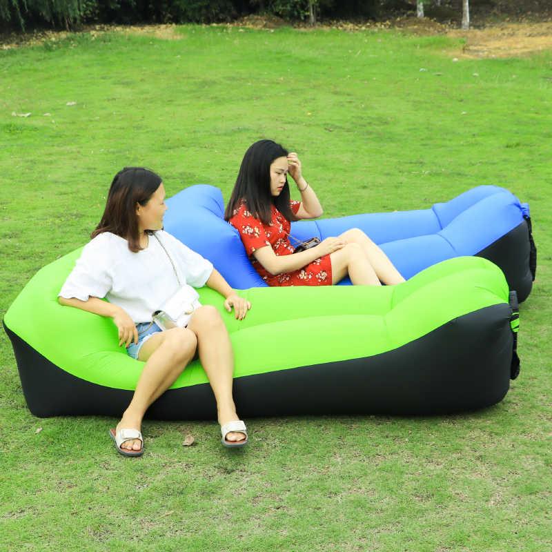 Rápido Dobrável Cadeira de Praia Camping laybag saco preguiçoso sofá de ar inflável saco de dormir adulto camas cadeira de salão com ar de ar de nylon sofá cama