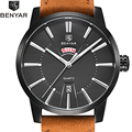 BENYAR Top Luxury Brand Watches Male fashion casual quartz watch Leather Strap men wristwatch Man Sports Clock Relogio Masculino