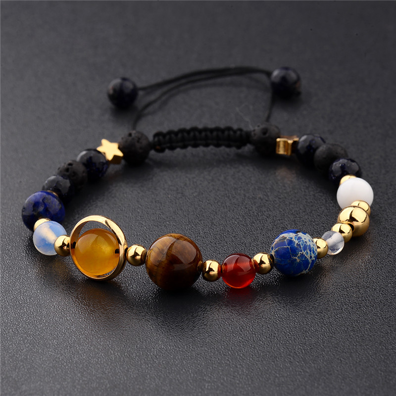 2018 Universe Galaxy Eight Planets in the Solar System Guardian Star Natural Stone Beads Bracelet Bangle for Women & Men Gift