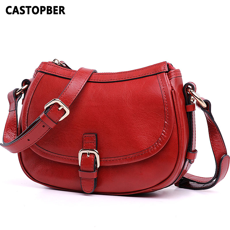 Genuine Leather Oil Wax Women Handbag Fashion Ladies Shoulder American And European Style Women Designer Cowhide Messenger Bag teemzone top european and american fashion evening bag ladies genuine leather long style hasp note compartment wallet j25