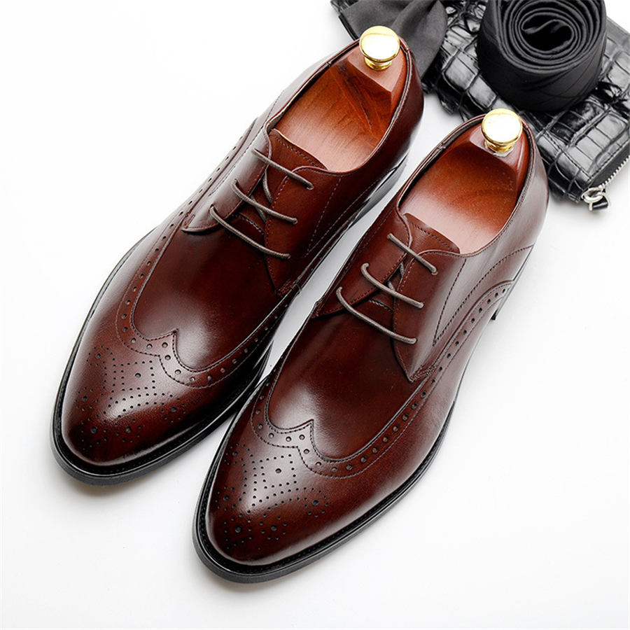 Genuine cow leather brogue wedding Business mens casual flats shoes vintage handmade oxford shoes for men 2019 black burgundyGenuine cow leather brogue wedding Business mens casual flats shoes vintage handmade oxford shoes for men 2019 black burgundy