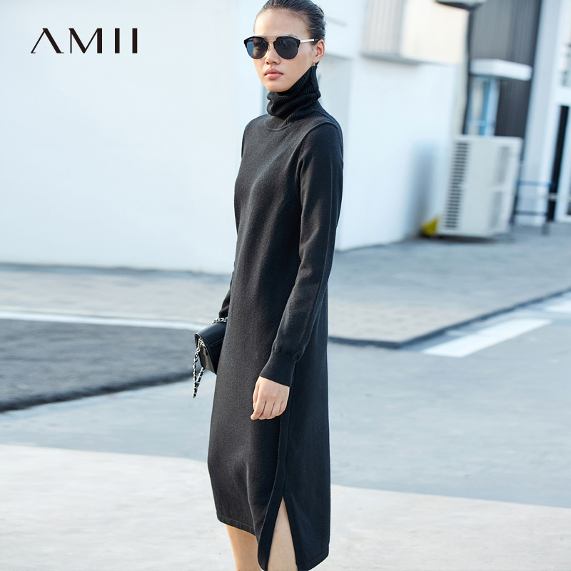 Amii Minimalist Turtleneck Dress Women Autumn Winter 2018 Causal Solid Long Sleeve Side Slit Thick Straight
