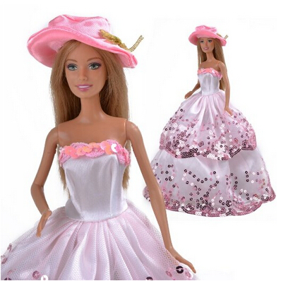 LeadingStar Beautiful Pink Princess Wedding Outfit Party Clothes Chrismas Dress For Barbie Doll pink wool coat doll clothes with belt for 18 american girl doll