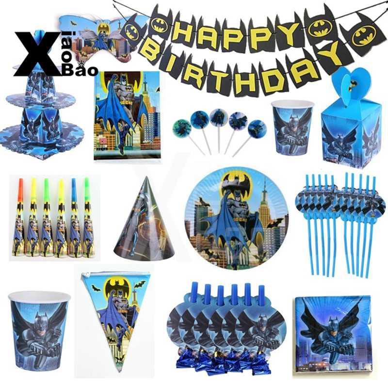 Batman Kartun Kertas Tableware Piring Piala Banner Serbet Undangan Taplak Meja Puncak Kue Balon Tas Nikmat Pesta Ulang Tahun Supply