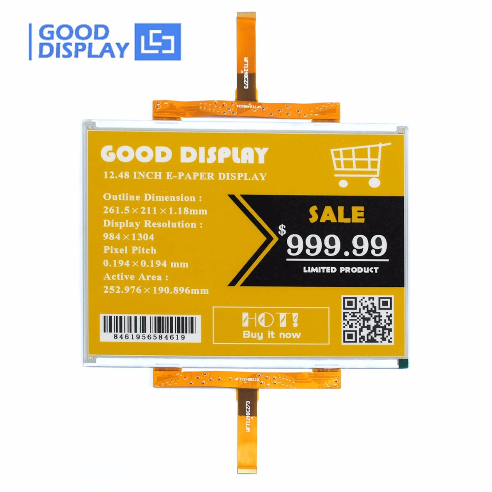 12.48 Inch Large E-ink Display Screen Color Yellow E-paper Display GDEW1248C63