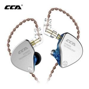 Image 1 - Новинка CCA CA4 1DD + 1BA гибридные наушники вкладыши HIFI DJ спортивный монитор для бега сценический IEM двойной привод Съемный 2 контактный кабель