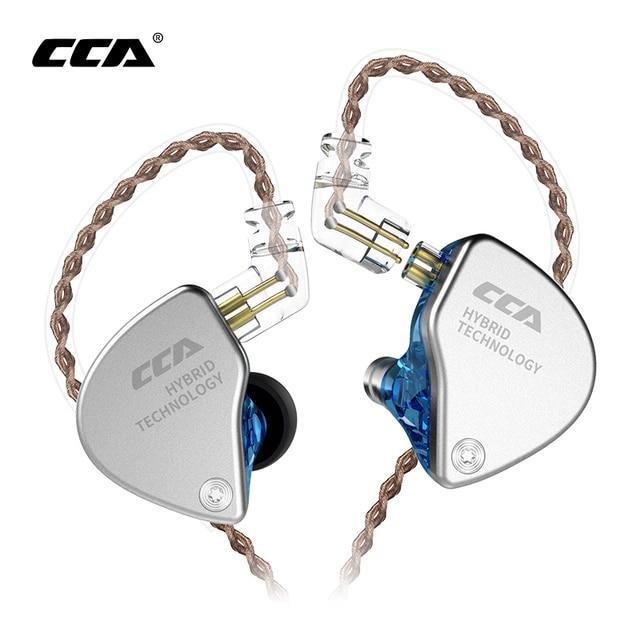 Новинка CCA CA4 1DD + 1BA гибридные наушники вкладыши HIFI DJ спортивный монитор для бега сценический IEM двойной привод Съемный 2 контактный кабель