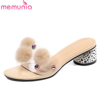 MEMUNIA 2019 hot sale women sandals fur +pvc transparent sandals fashion square heels slipper summer party wedding shoes woman
