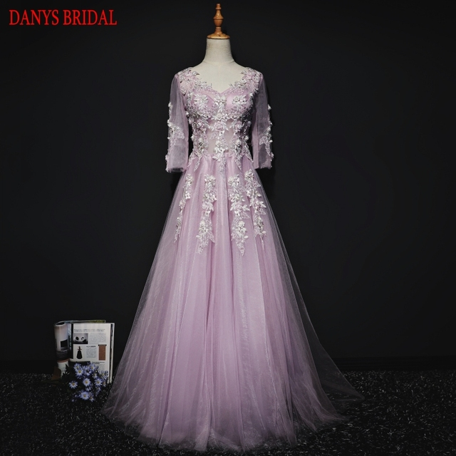 86f094ed11 US $139.5 10% OFF|Pink Long Sleeve Lace Evening Dresses Party Beautiful A  Line Beaded Women Prom Formal Evening Gowns Dresses abendkleider-in Evening  ...