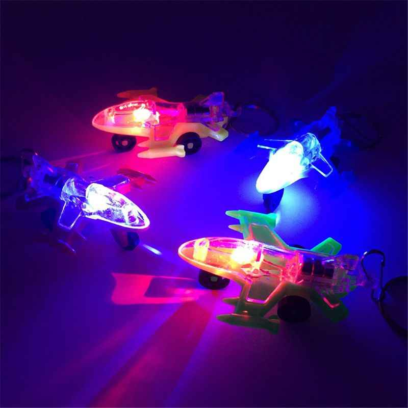 Mini Plane LED Light-Up Toys Keychain Party Favors Kids Toy Gift Gadgets Bag Pendant