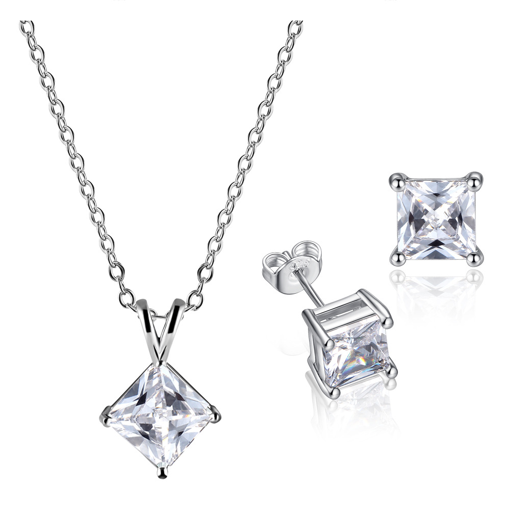 Silver Square Shiny CZ Stone Jewelry Sets For Women simple square Pendant Necklace&Earrings Set Girls Engagement Party jewelry
