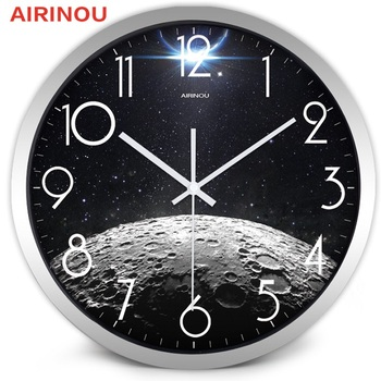 Airinou the Moon Starry Sky and Mars 3 Styles ,Glass&Metal Silent Movement Wall Clock,Children Room Museum Theme Park  Decorate 12
