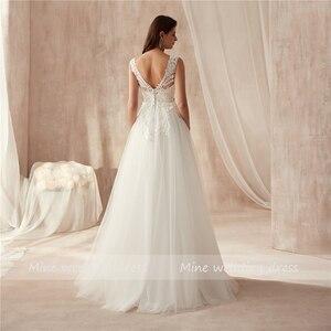 Image 4 - 2019 Новое поступление v образный вырез высокое качество Свадебная Кружевная аппликация платье Бисероплетение Sash A Line Свадебные платья vestido de casamento