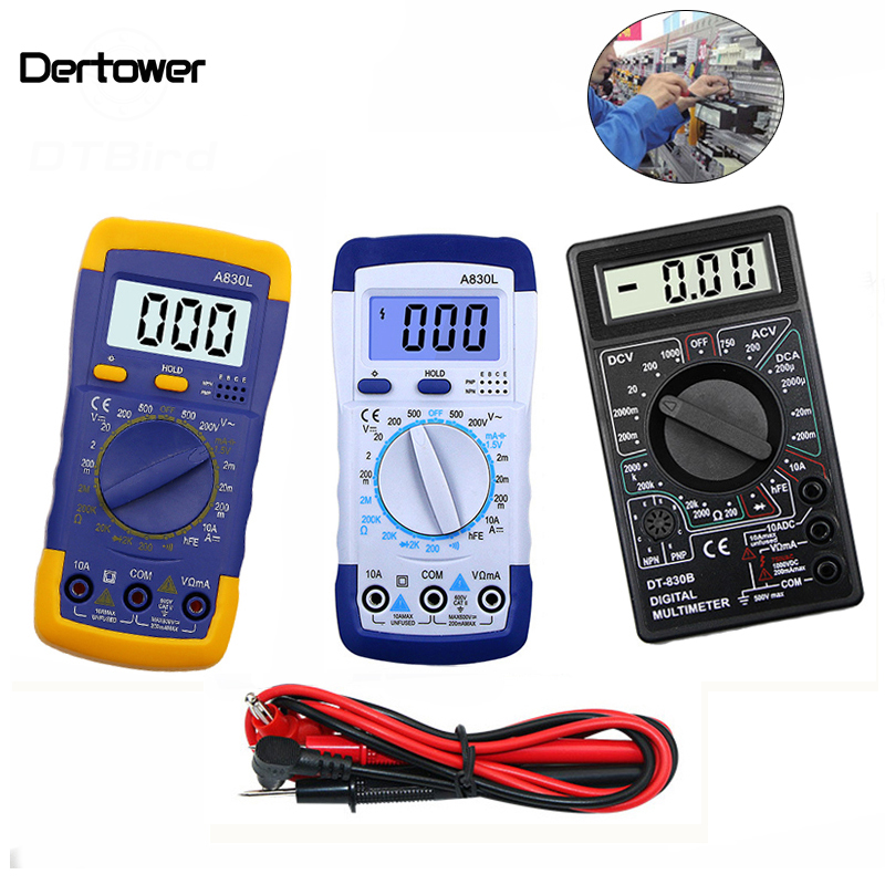 A830L DT-830B LCD Digital Voltmeter Ohmmeter Ammeter  Multimeter DC AC Volt Diode Freguency Multitester Volt Tester Test Current