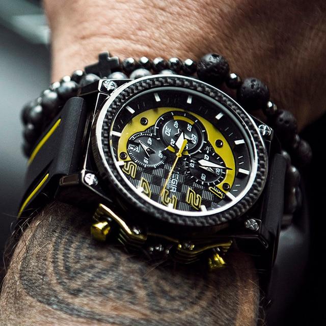 Megir الساعات الرياضية الذكور ساعة المطاط ساعة كبيرة رجل كرونوغراف ساعة الذكور مقاوم للماء الإبداعية الرجال الساعات التناظرية الكوارتز