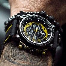 Relojes Megir reloj deportivo para hombre reloj grande de goma reloj para hombre cronógrafo para hombre reloj impermeable creativo para hombre reloj de cuarzo analógico