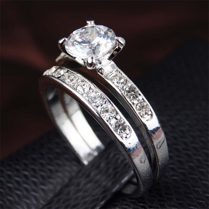 YHAMNI Fashion Lovers Engagement Ring Real White Pure Gold Color CZ