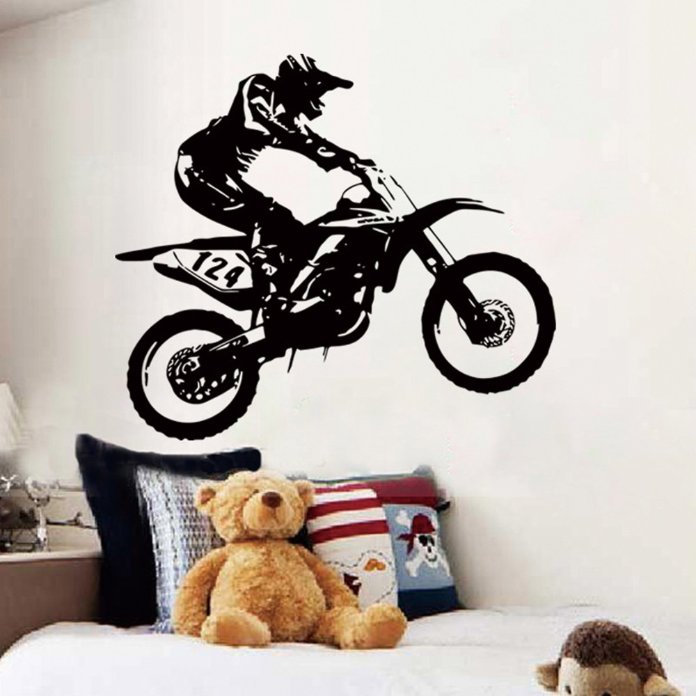 US $4 06 OFF Motorbike Motocross Wall Stickers Art Removable Home Room Decor Motocross Vinyl Wall Decal Wall Stickers AliExpress