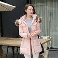 Mulheres Jaqueta de inverno Fino Casaco De Pele Gola Espessamento Médio-Longo Com Capuz Para Baixo Parka Plus Size Outwear Casaco Casuais