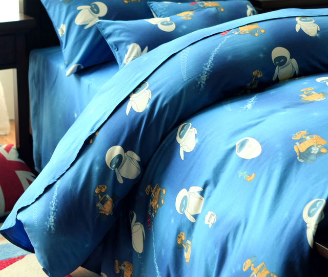 Boy Blue E Wall Cartoon Children Baby 4 Pcs Bedding Set Duvet Quilt