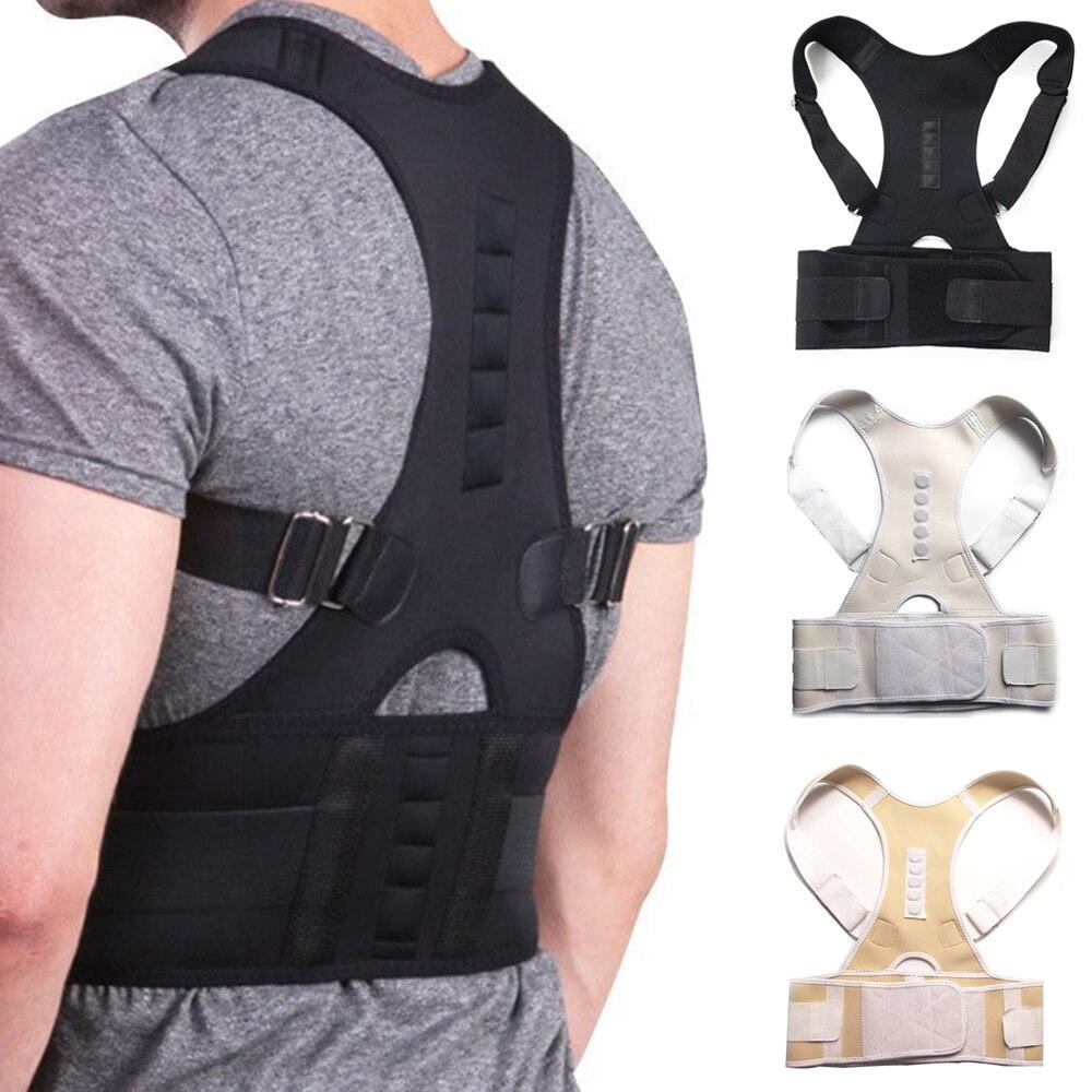 Hombre mujer ajustable magnético Corrector de postura corsé cinturón trasero Lumbar soporte recto Corrector de espalda S-XXL