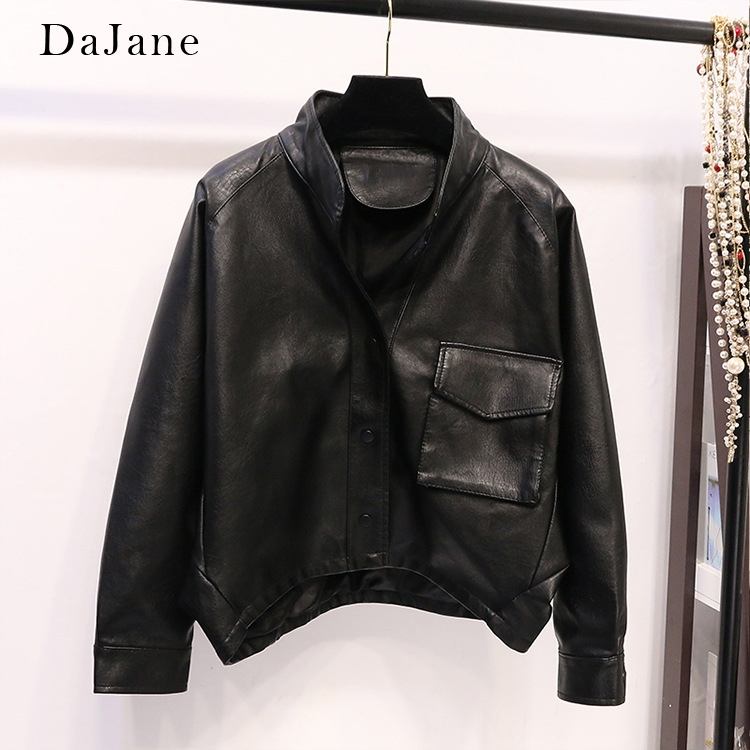 Korean Version Loose Version women's PU   Leather   Clothing Waisted three-dimensional Pocket Motorcycle Clothing   Leather   Jacket