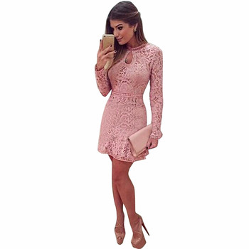 Spring Summer Autumn Women Lace Casual Dress Long Sleeve  Dresses Vestido Women Sexy Hollow Pink Slim Dresses 2018