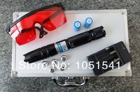 AAA High power Blue laser pointers 300000m 450nm LED Flashlight Burning Match/dry candle/black/Burn cigarettes+Glasses+Gift Box