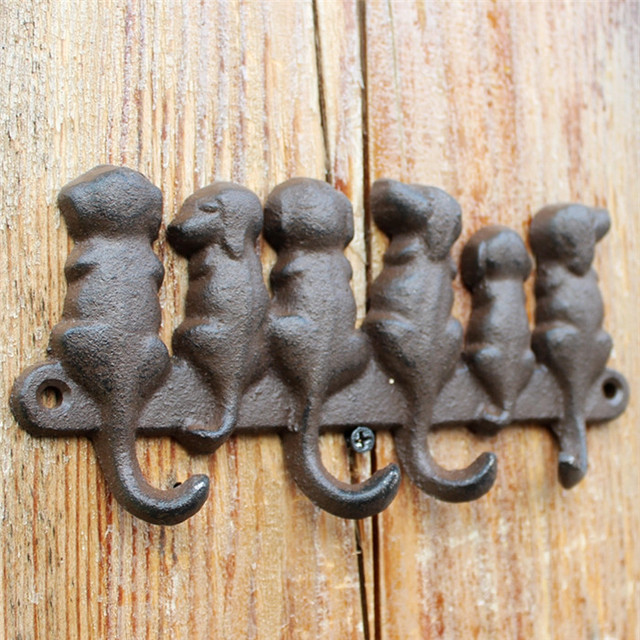 3 fonte de fer porte manteau mural 6 chiens cle porte manteau avec 4