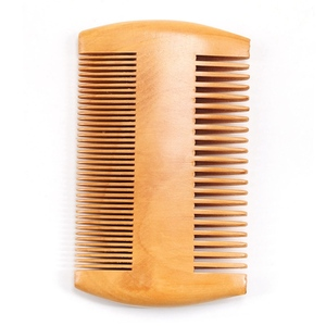 Image 5 - Double Side Pear Wood Beard Comb + PU Leather Bag  Antistatic Beard Care Portable Hair Brush Comb For Men