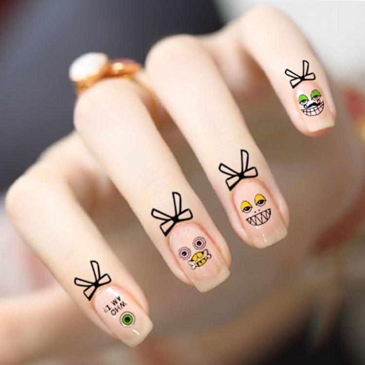Vh328dbeauty Bowtie Cuticle Vinger Tattoo Nail Art Stickers Water