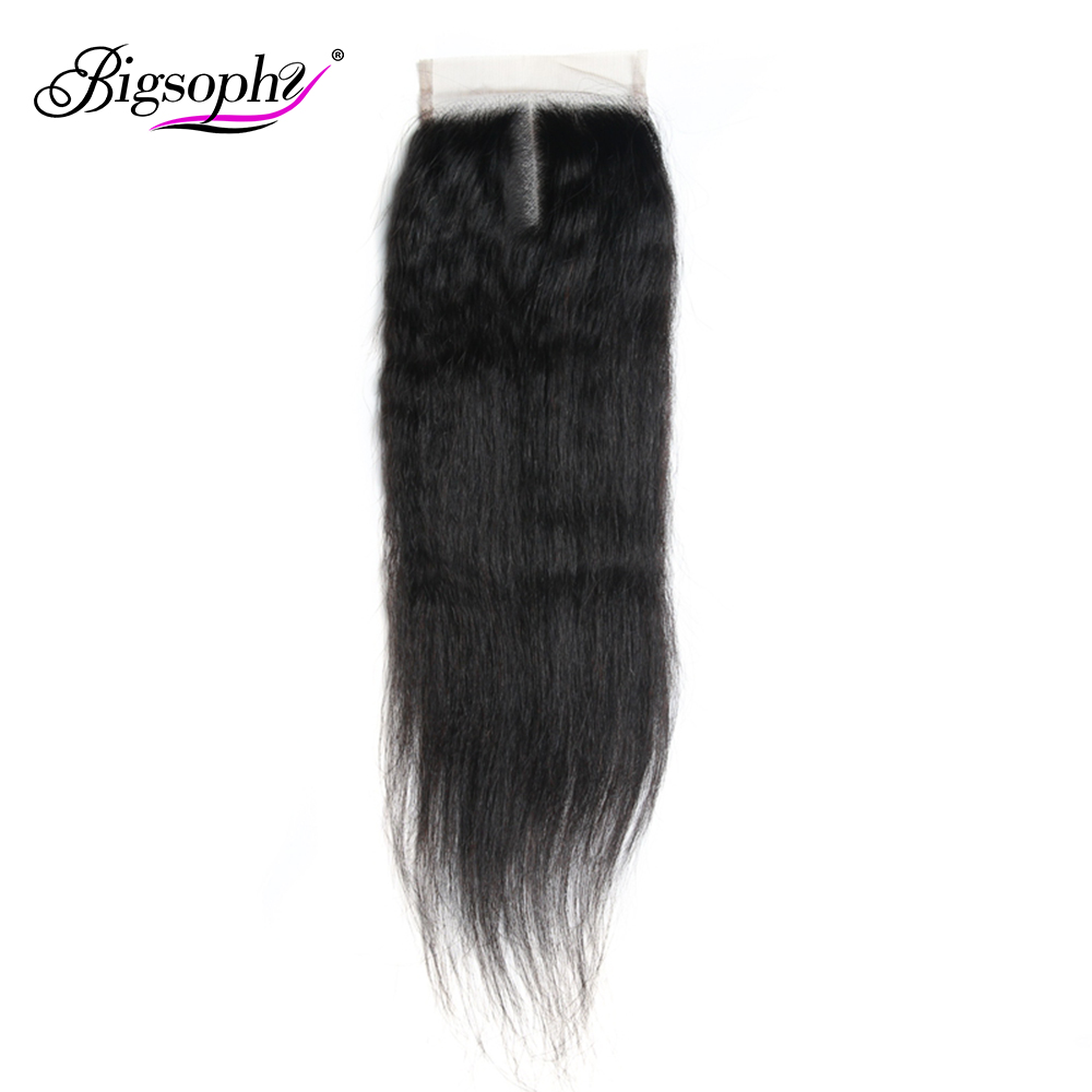 Bigsophy Brazilian Hair Yaki Straight Closure 100% Human Hair 4*4 Lace Closure Remy Hair Weaving Swiss Lace Closures 8 - 20 Inch