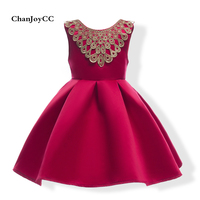 2017Hot Sale Summer Girls Dress Cotton Sleeveless With Bow Tie And Appliques Solid Princess Formal Dress