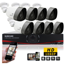 SUNCHAN 8Channel CCTV System 4 x 1080P CCTV Camera 2.0MP Camera Home Security System Video Surveillance Kits