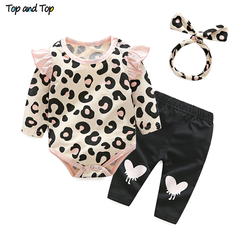 Girl Clothing Outfits-Set Pants Headband Leopard Newborn-Baby 3PCS Rompers Top Print
