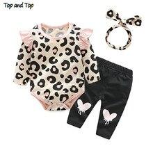 Топ и топ, комплект одежды для маленьких девочек, г. Осенняя одежда для новорожденных девочек Комбинезон с леопардовым принтом, повязка на голову, штаны комплект одежды из 3 предметов