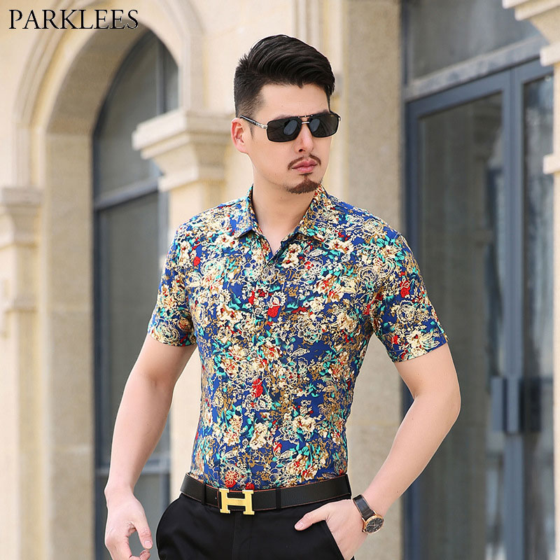 Mens Hipster Golden Foil Print Silk Floral Shirt Brand New Slim Fit Short Sleeve Velvet Flower Dress Shirt Disco Perform Camisas