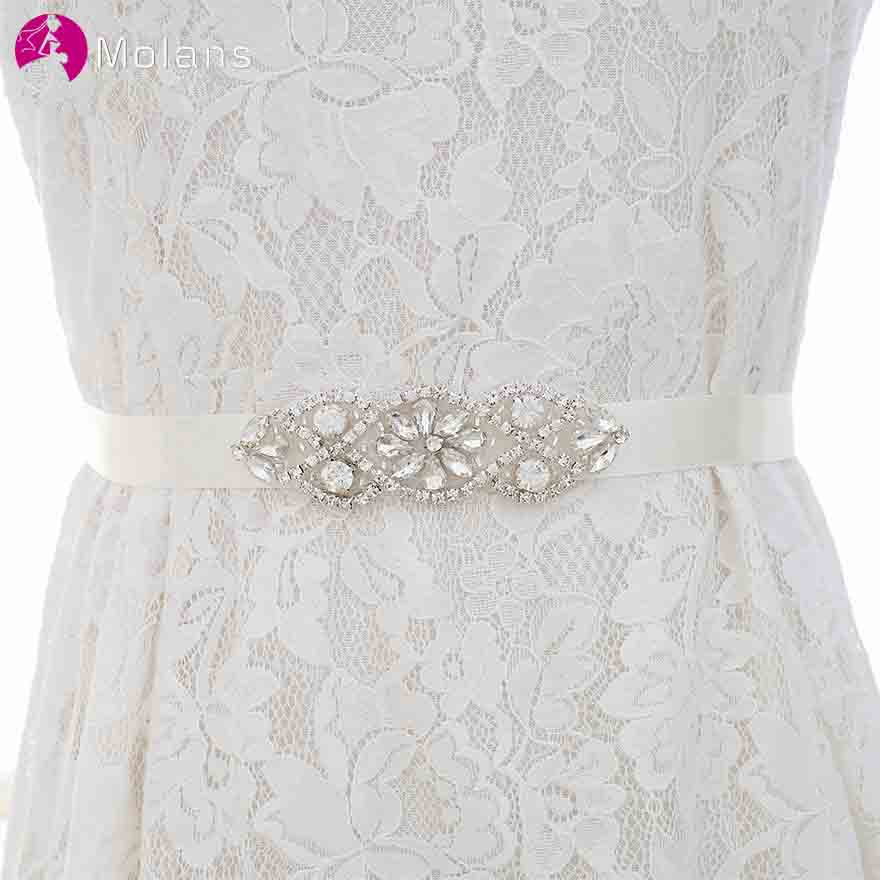 MOLANS Simple Diamonds Silver Crystal Bride Belts For Wedding Dress Accessories Floral Bow Pattern With Satin  Sash For Gown