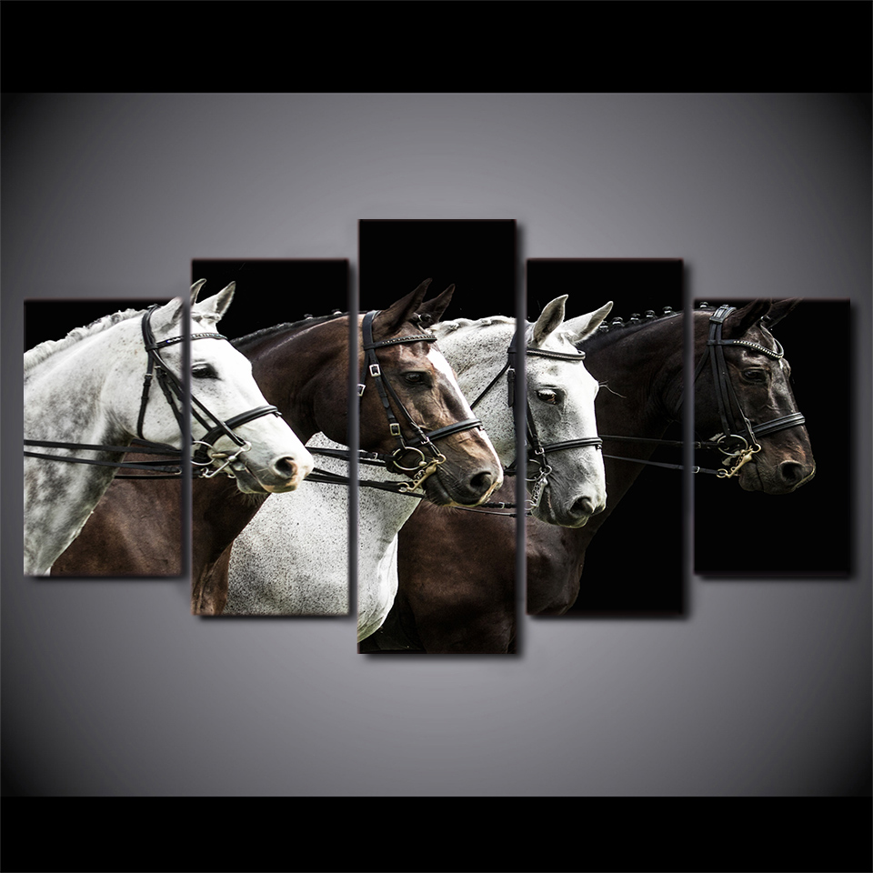 5 Piece Framed Printed Black And Brown Horse Painting On Canvas Decor Art Print Picture Canvas Poster Printing Nanatsu No Taiza