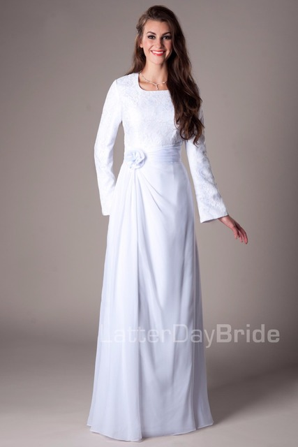 White Lace Chiffon Temple Modest Wedding Dresses Long Sleeves Informal  Reception Gowns Long Floor A-line Bridal Gowns Simple c9a287c47e74